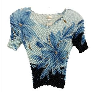 VINTAGE CACHE 90's Floral Stretch Texture Top NWT